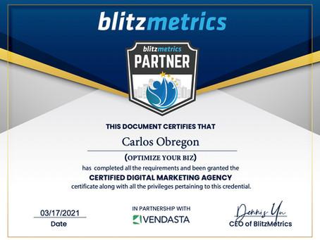 Optimize Your Biz Is Now A Certified Partner With Blitzmetrics.