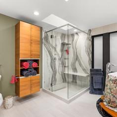 Chandler Bath Oasis - Full slab quartz, custom Sinker Cypress Cabinet