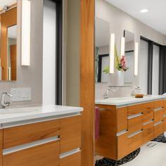 Chandler Bath Oasis - Custom Sinker Cypress Door with Mirror