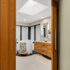Chandler Bath Oasis - Custom Sinker Cypress Header and Column