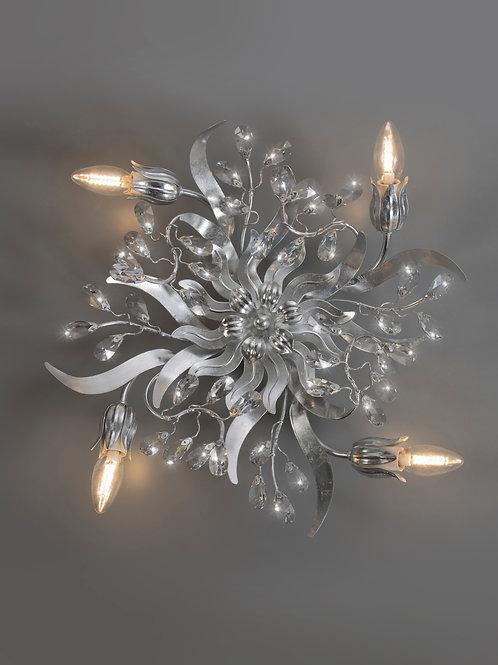 Ferro Luce Deckenleuchte 4 flg. eingefasste Kristalle, Blattsilber glänzend