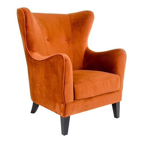 Oranger Sessel aus Velour Stoff, Seitenansicht