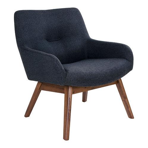 Sessel aus schwarzem Stoff, Beine aus Walnuss, Seitenansicht
