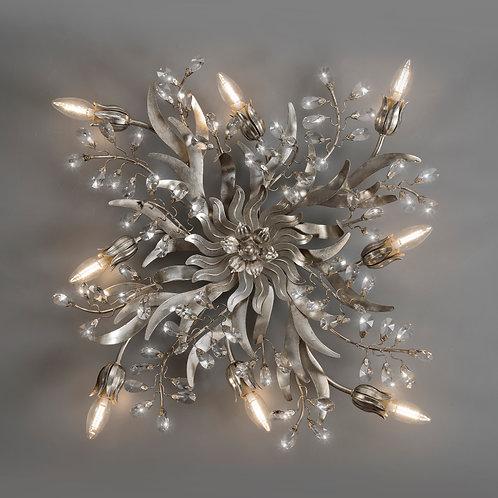 Ferro Luce Deckenleuchte 8 flg. eingefasste Kristalle, Blattsilber glänzend.