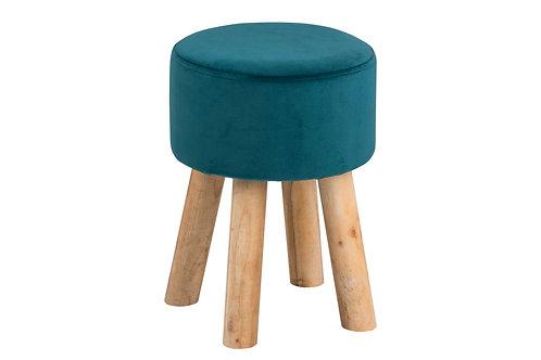 Hocker Maren Grün aus Stoff, Beine aus Holz
