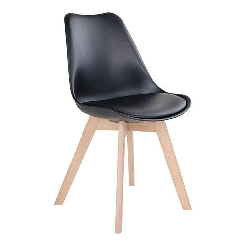 Esszimmerstuhl, Seitenansicht, Schwarz mit Beinen aus Naturholz