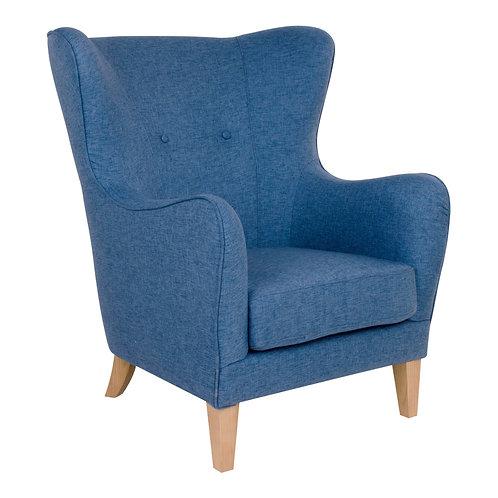 Blauer Sessel aus Velour Stoff, Seitenansicht