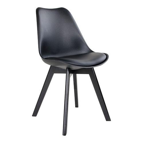 Esszimmerstuhl, Seitenansicht, Schwarz mit schwarzen Beinen