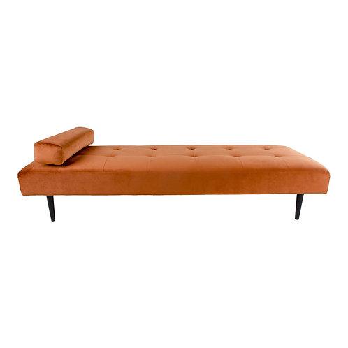 Rotes Tagesbett aus Velour Stoff, Beine aus Holz