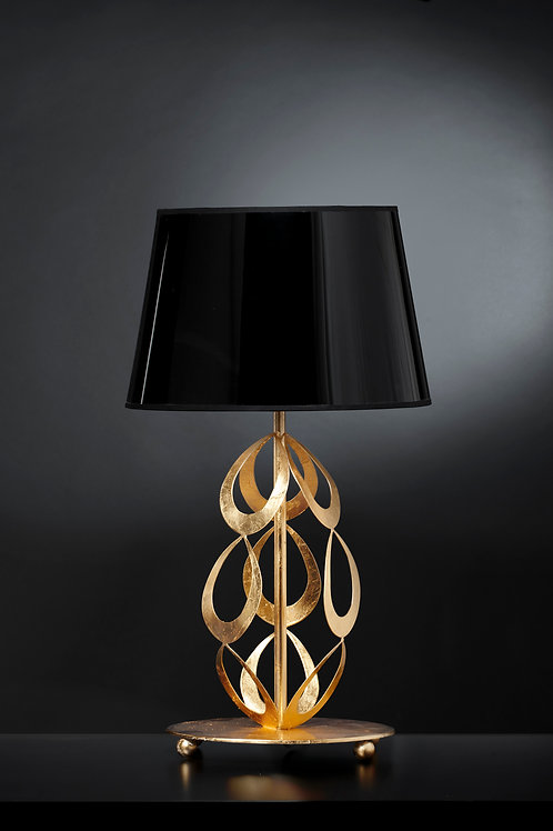 Ferro Luce Tischleuchte 1 flg. mit schwarzem Schirm, Blattgold glänzend