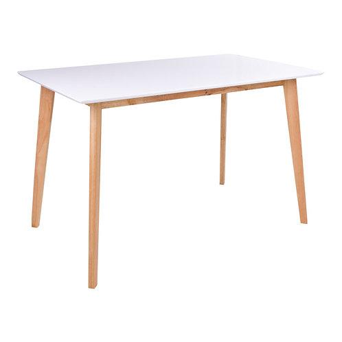 Rechteckigerweißer Esstisch mit Beinen aus Naturholz, Vorderansicht