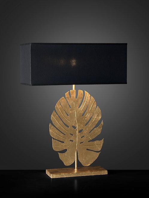 Ferro Luce Tischleuchte 1 flg., Palmenblattdekor mit schwarzem Schirm, Blattgold weiß patiniert