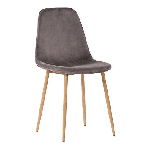 Grauer Esszimmerstuhl aus Samstoff mit Holzbeinen, Vorderansicht