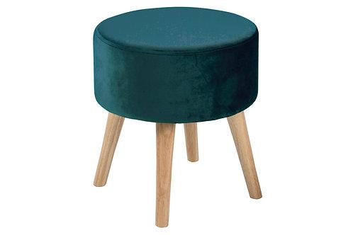 Hocker Sherman Grün aus Stoff, Beine aus Holz
