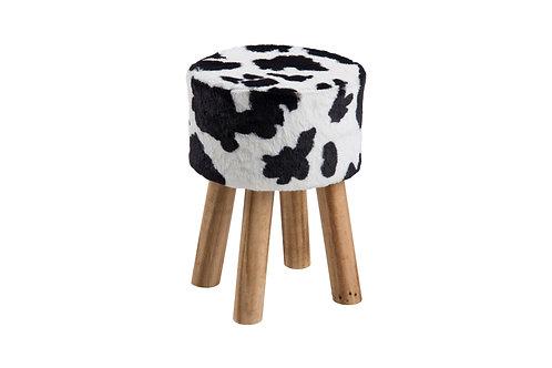 Hocker Maren aus Stoff, Kuh Print, Rund, Beine aus Holz