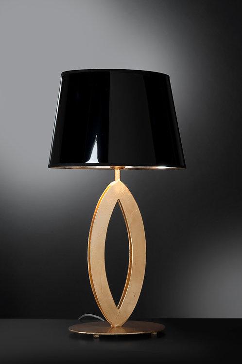 Ferro Luce Tischleuchte 1 flg. mit schwarzem Schirm innen gold, Blattgold glänzend