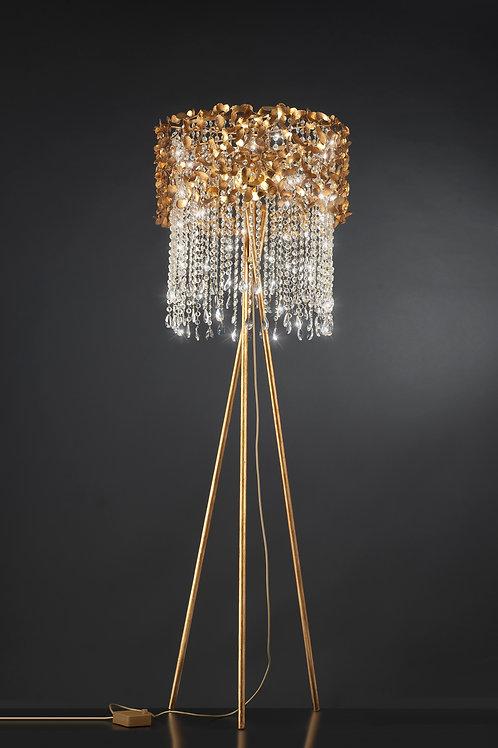 Ferro Luce Stehleuchte 6 flg. Kristallketten, Blattgold glänzend