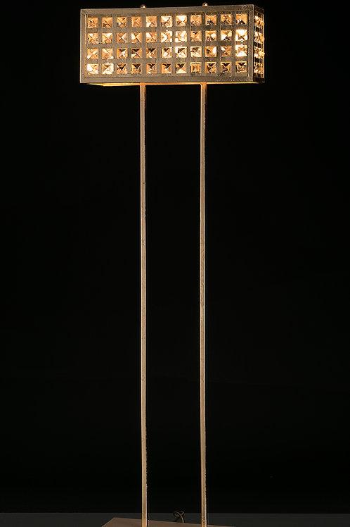 Ferro Luce Stehleuchte 4 flg. quadratische Kristalle, Blattsilber glänzend
