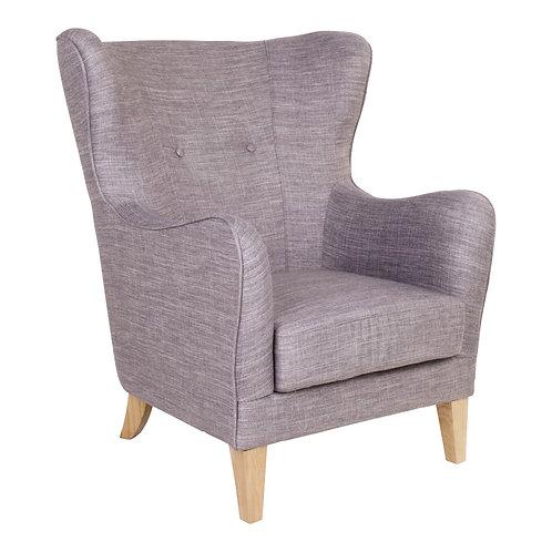 Grauer Sessel aus Stoff, Seitenansicht