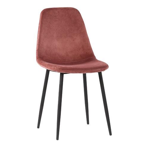 Esszimmerstuhl aus Samstoff, Rosé mit schwarzen Beinen, Vorderansicht