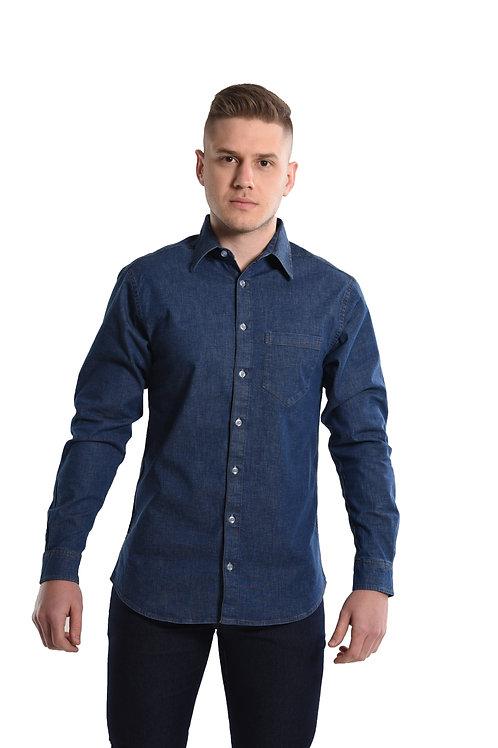 Camisa Jeans Com Elastano Manga longa