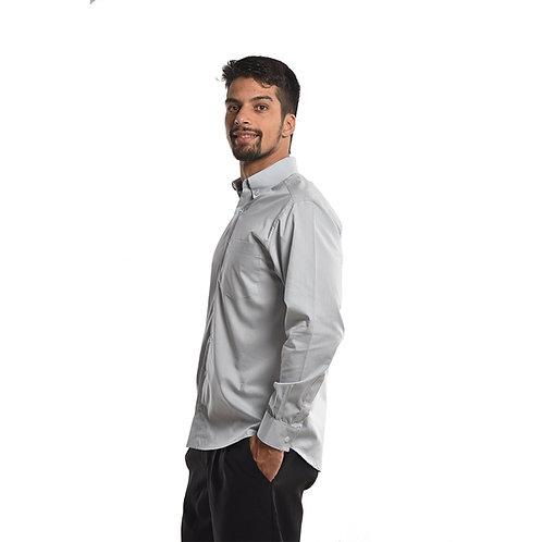 Camisa Social de Botões Manga Longa na Cor Cinza