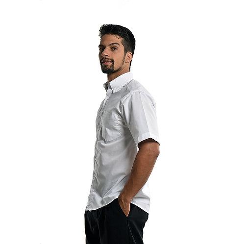 Camisa Social de Botões Manga Curta na Cor Branca
