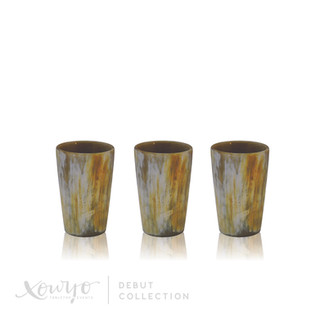 HAND PAINTED HORN TUMBLERS