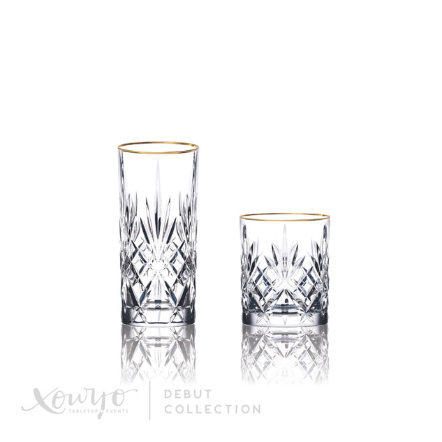 GOLD RIMMED CRYSTAL TUMBLERS