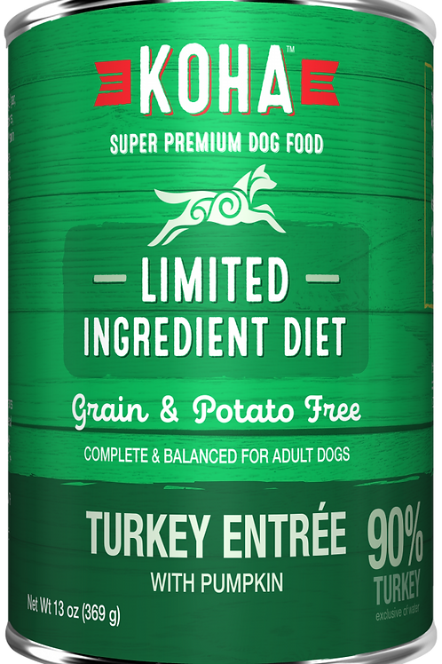 KOHA GRAIN & POTATO FREE LIMITED INGREDIENT DIET TURKEY ENTREE WITH PUMPKIN CANN