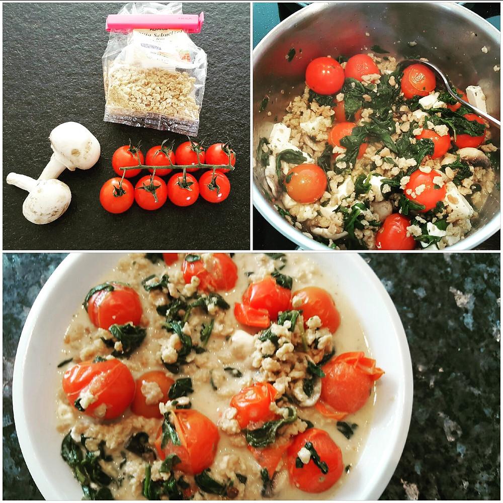 Ernährungsberatung, Ernährungstherapie und Fitnessberatung in Lyss, Fabienne Kobi, Low-Carb Gemüsepfanne mit Soja Schnetzel und Salatkäse