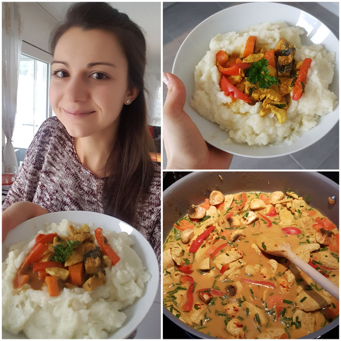 Pouletcurry / Tofucurry auf Blumenkohlpüree