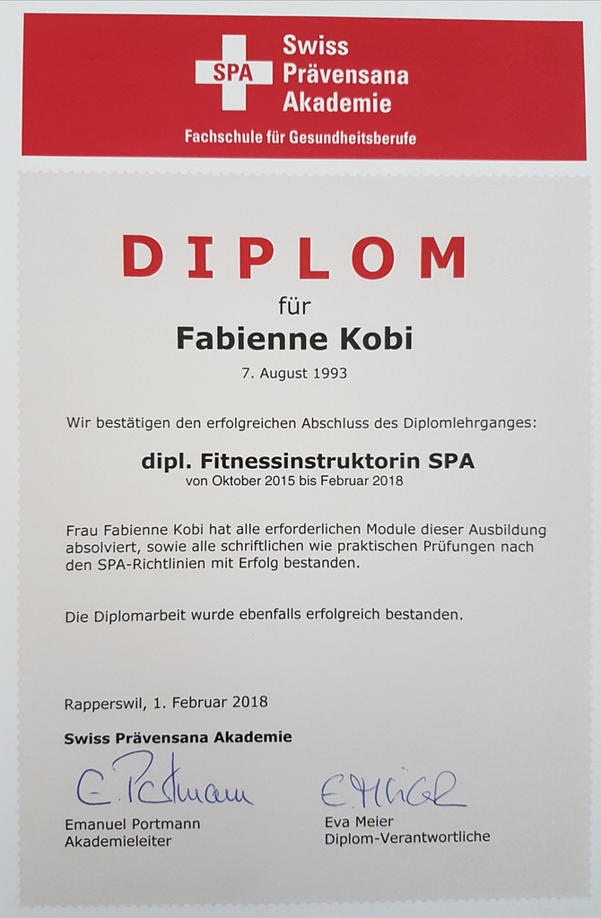 Diplom - dipl. Fitnessinstruktorin SPA