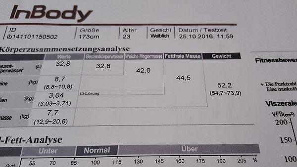 InBody Analyse, Körperzusammensetzung, Bodyanalyse
