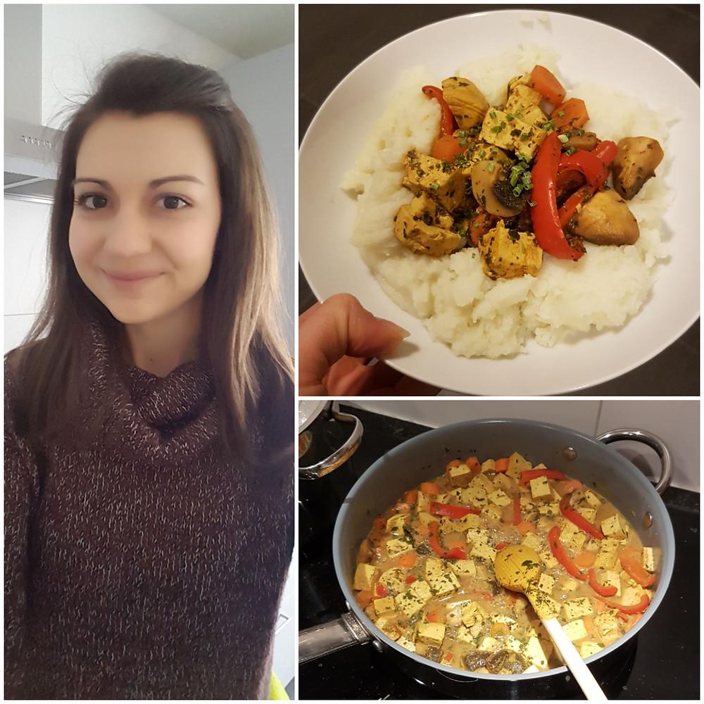 Ernährungsberatung, Ernährungstherapie, Fitnessberatung in Lyss, Fabienne Kobi, Tofucurry auf Blumenkohlpüree