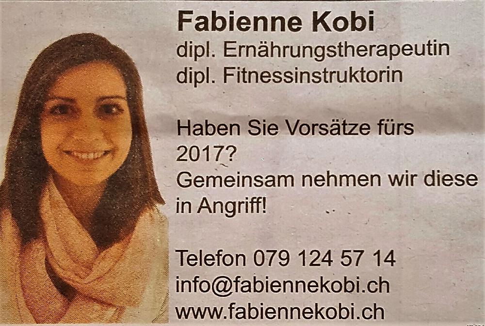 Ernährungsberatung, Ernährungstherapie und Fitnessberatung in Lyss, Fabienne Kobi, Jetzt einen Termin vereinbaren!