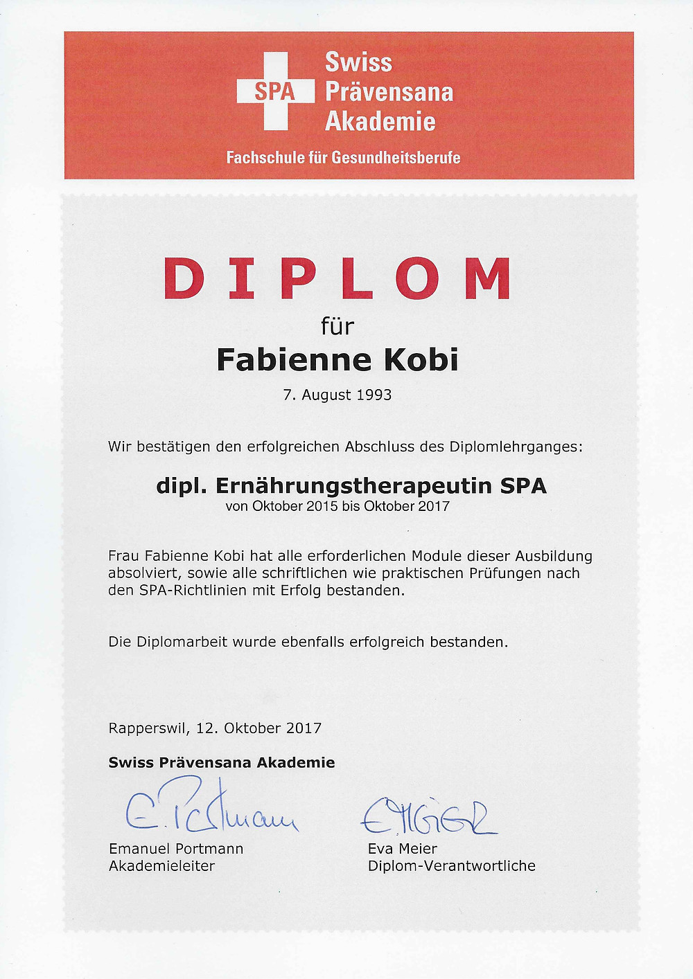 Ernährungsberatung, Ernährungstherape und Fitnessberatung in Lyss, Fabienne Kobi, Diplom, dipl. Ernährungstherapeutin SPA