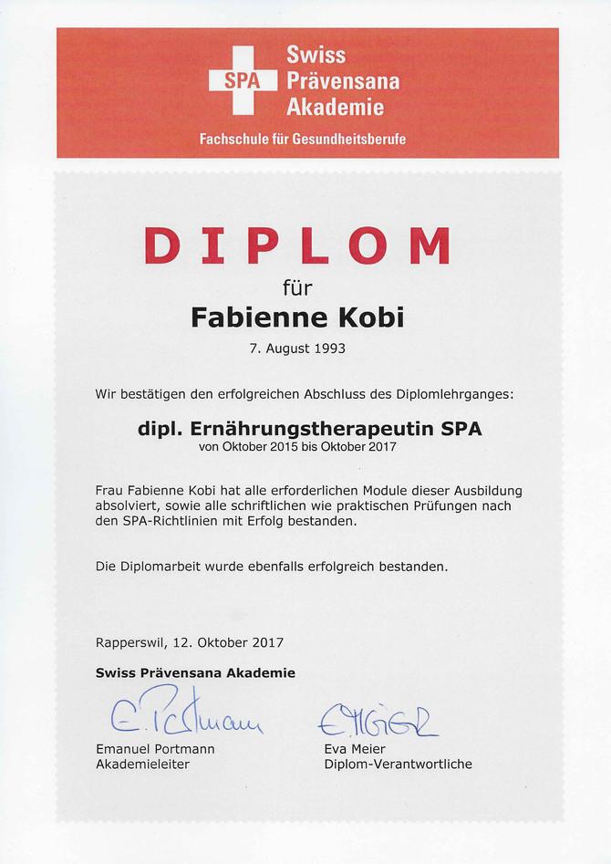 Diplom - dipl. Ernährungstherapeutin SPA