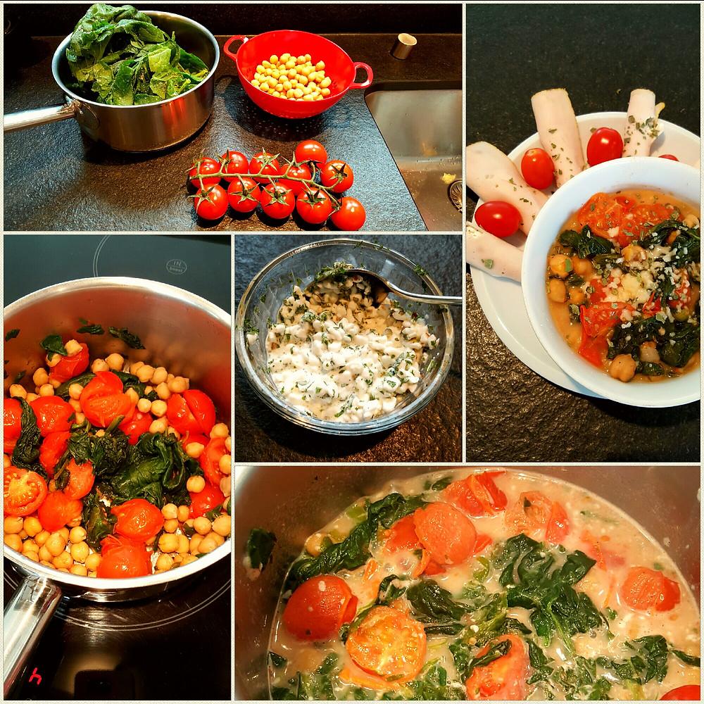 Ernährungsberatung, Ernährungstherapie und Fitnessberatung in Lyss, Fabienne Kobi, Spinat-Cherry Tomaten-Kichererbsen-Pfanne