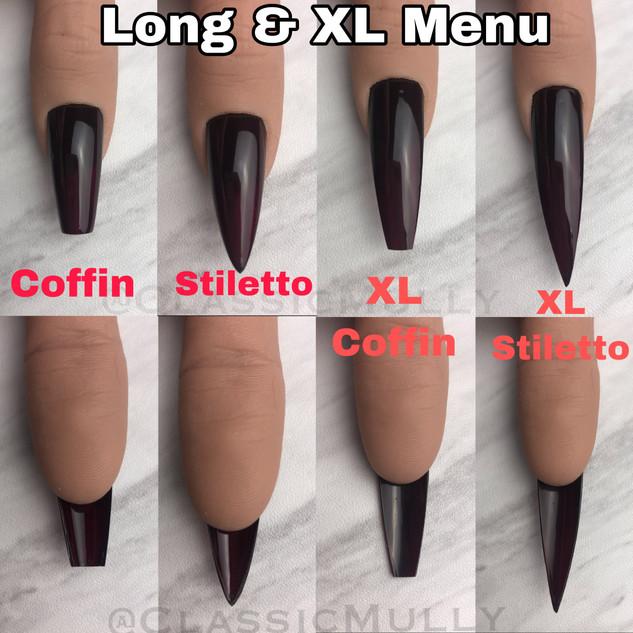 Long & XL Menu