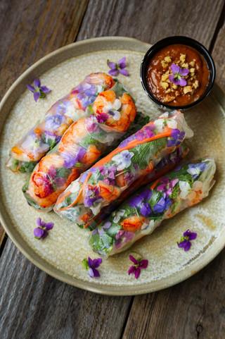 Woodland Violet & Garlic Mustard Spring Rolls