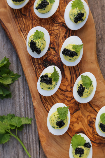 Garlic Mustard Deviled Eggs