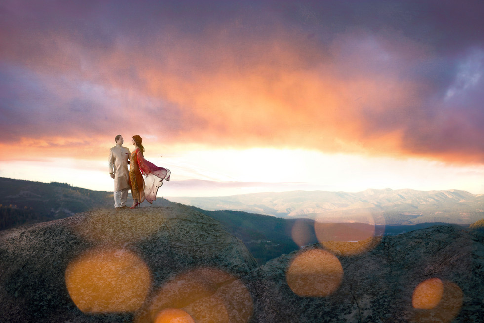 Lake Tahoe sunset engagment session