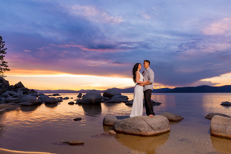 Lake Tahoe sunset engagment session