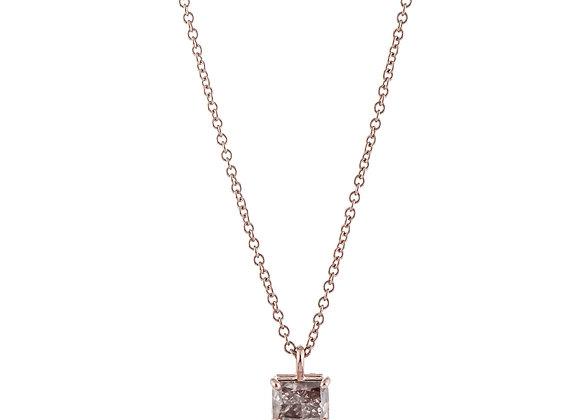 Princess Cut Fancy Pink-Brown Diamond Pendant