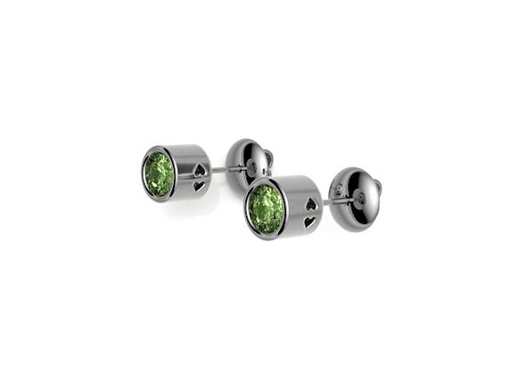 Bezel Love Earrings – Tsavorite Garnet