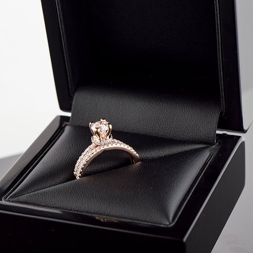 14k Rose gold diamond wedding set