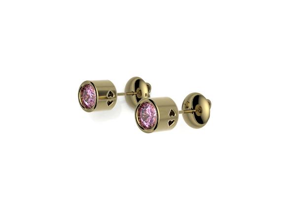 Bezel Love Earrings – Pink Sapphire