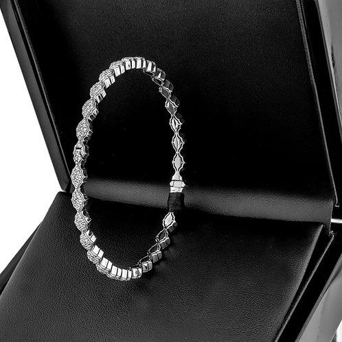14k White gold Lab Grown diamond bangle bracelet