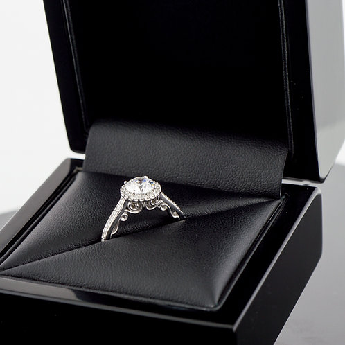 14k White gold Lannyte and diamond halo ring
